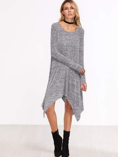 Grey Marled Knit Asymmetric Dress