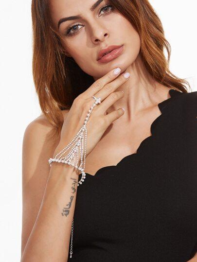 Белый модный браслет-цепочка с жемчугами