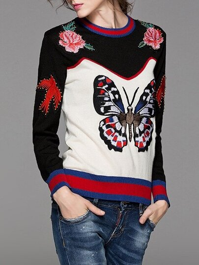 Black Color Block Butterfly Embroidered Sweater
