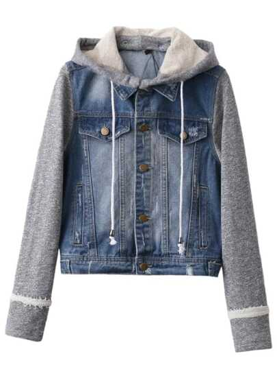 Blue Contrast Sleeve Drawstring Hooded Denim Jacket