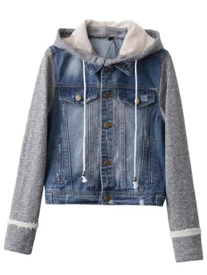 Jacket con mangas en contraste y capucha denim - azul
