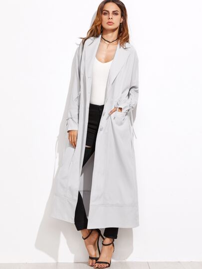 Grey Drawstring Waist And Cuff Long Coat