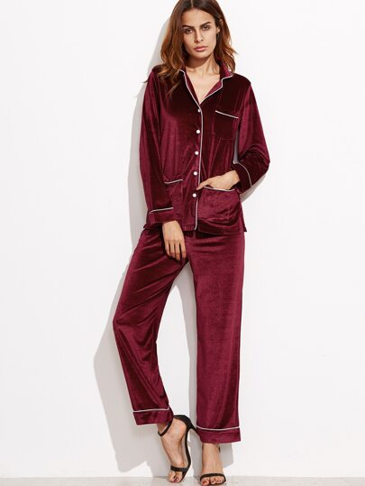Burgundy Velvet Contrast Trim Pajama Suit