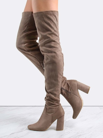 Faux Suede Thigh High Boots TAUPE