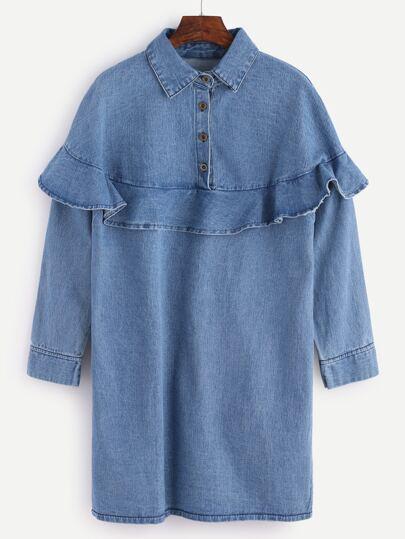 Blue Ruffle Trim Denim Shirt Dress