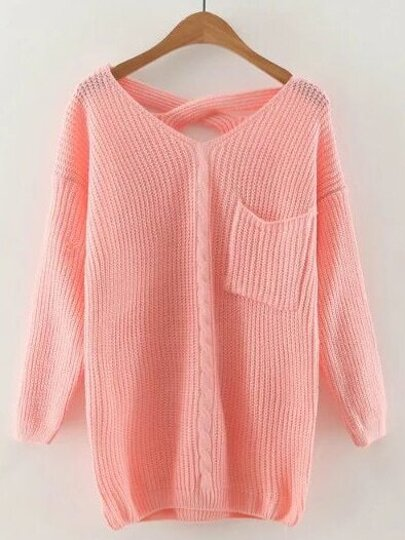 Pink V Neck Criss Cross Back Cable Knit Sweater