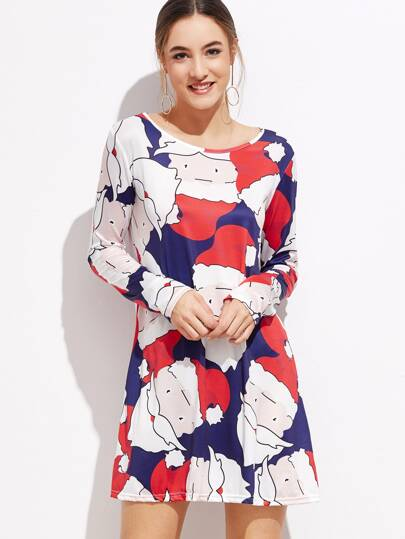 Multicolor Santa Claus Print Tee Dress