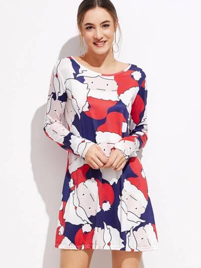 فستان نمط تي شيرت ملون بطباعة