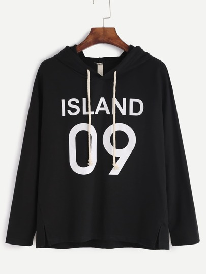 Black Letter Print Slit Side Hooded T-shirt
