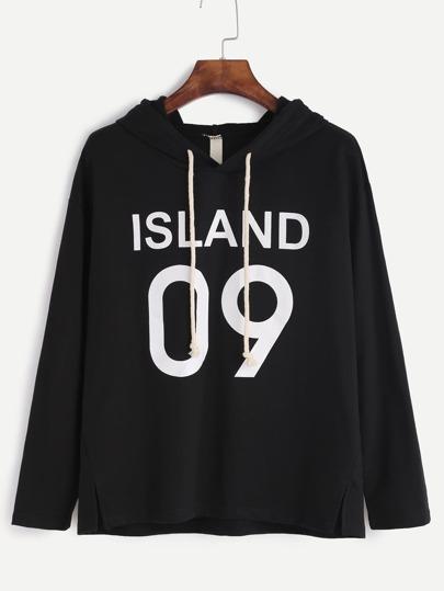Camiseta con capucha y estampado de letra con abertura lateral - negro