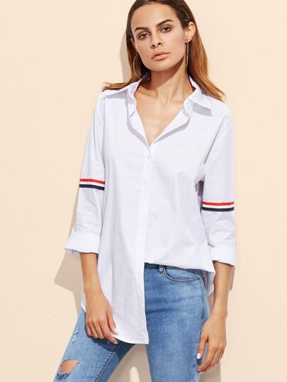White Striped Trim Curved Hem Shirt