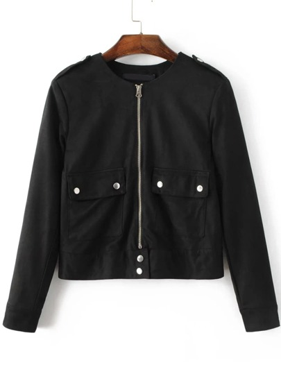 Black Zipper Up Suede Jacket