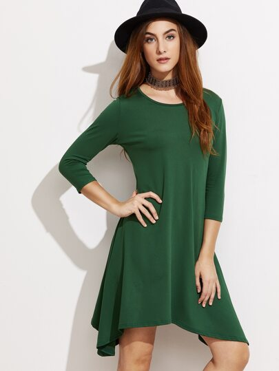 Green 3/4 Sleeve Asymmetric Swing Dress