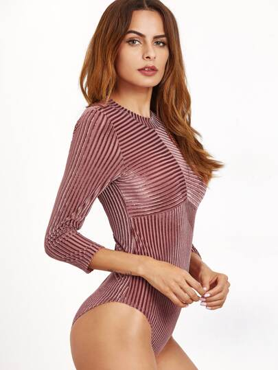 Brown Cutout Back Striped Velvet Bodysuit