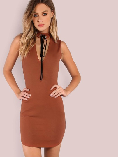 Deep V Choker Strap Curved Bodycon Dress RUST