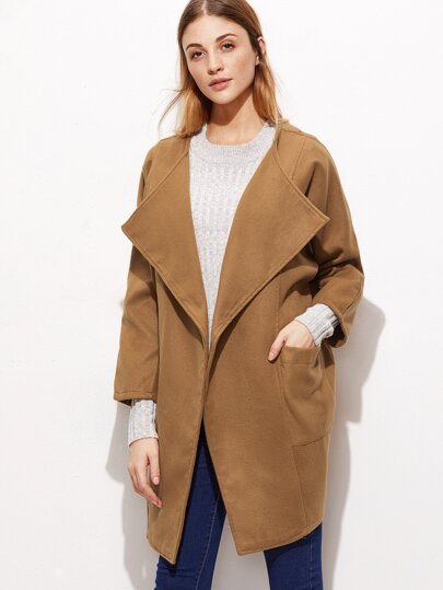 Khaki Raglan Sleeve Draped Collar Coat