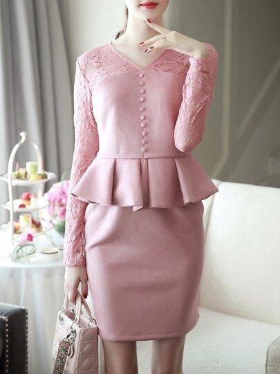 Vestido ajustado escote V con péplum y encaje - rosa