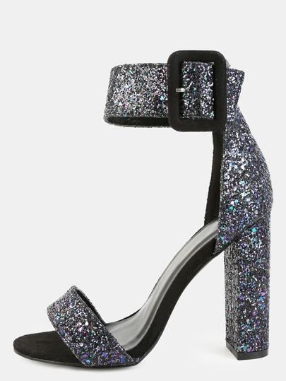 Open Toe Chunky Glitter Heels BLACK