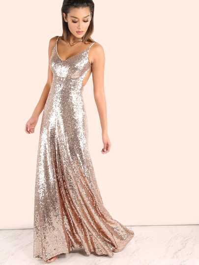 Vestido maxi con tirantes y lentejuelas sin espalda - rosa dorado