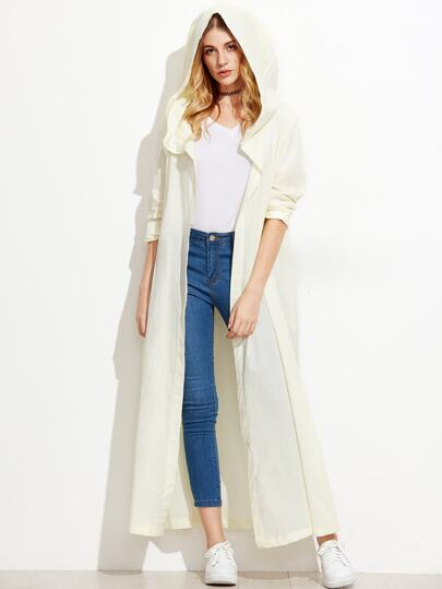Beige Hooded Long Trench Coat