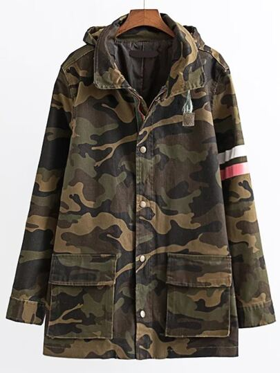 Army Green Letter Print Camouflage Hooded Coat