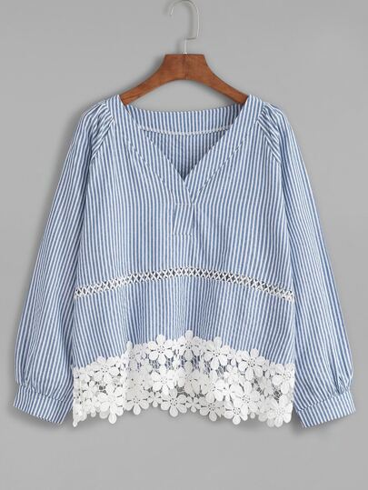 Blue Vertical Striped Contrast Applique Trim Top