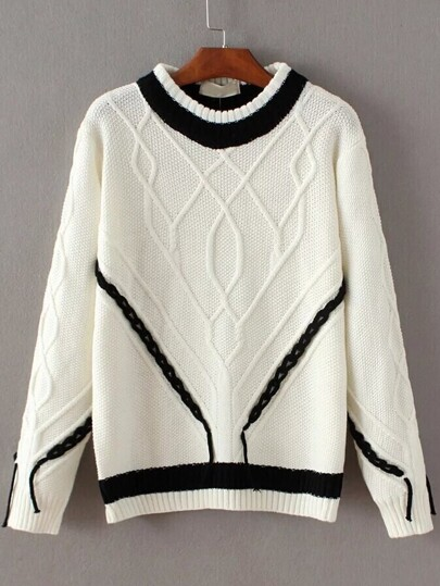 White Contrast Trim Round Neck Knitwear