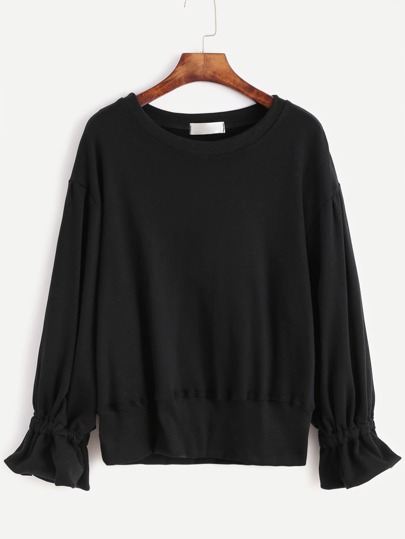 Black Drop Shoulder Ruffle Cuff Sweatshirt