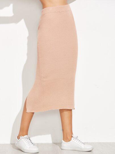 Pink Ribbed Knit Back Slit Knit Skirt