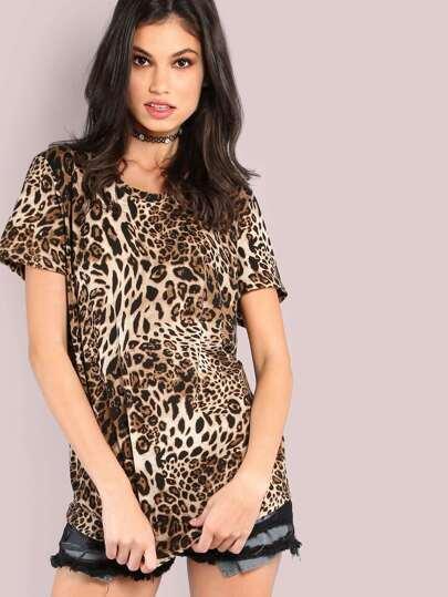 Short Sleeve Cheetah Print Tee LEOPARD