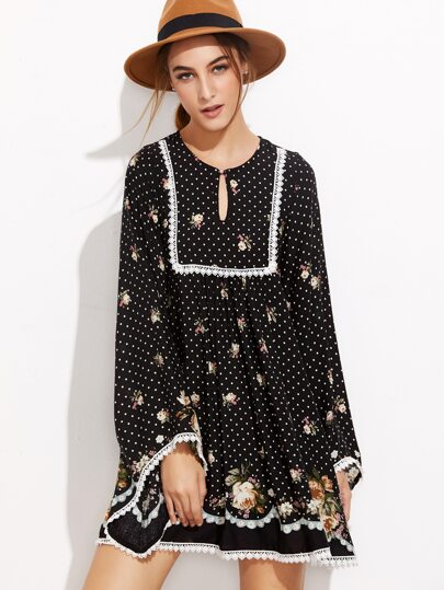 Black Polka Dot And Rose Print Lace Trim Tunic Dress