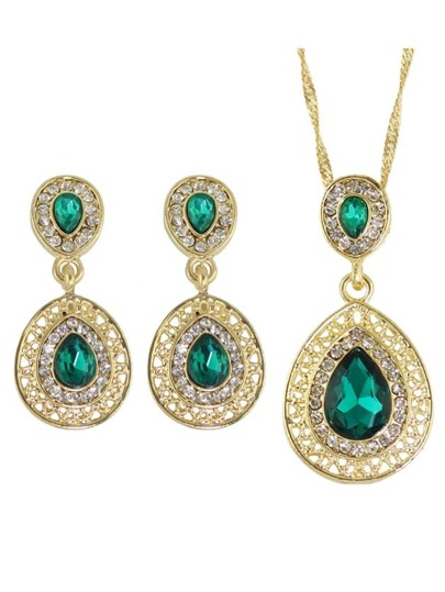 Green Elegant Rhinestone Necklace Earrings Wedding Jewelry Set