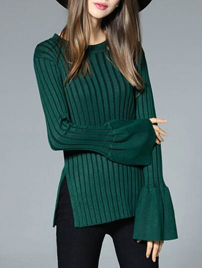 Green Crew Neck Knit Split Sweater