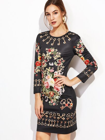 Black Floral Print Sheath Dress