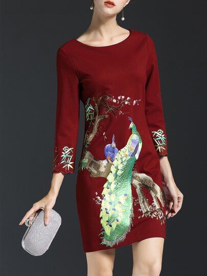 Burgundy Peacock Embroidered Sheath Dress