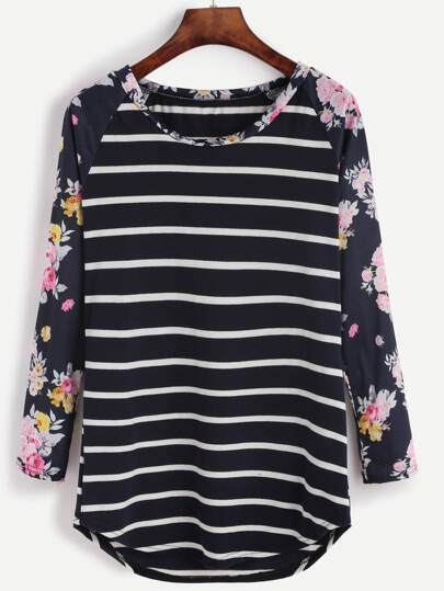 Contrast Raglan Sleeve Striped T-shirt