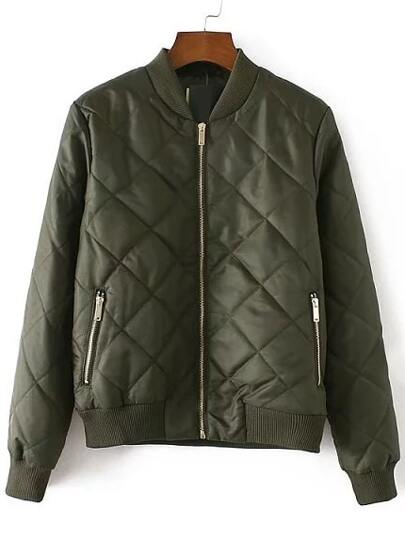 Army Green Diamond Quilted Zipper Up Flight Jacket