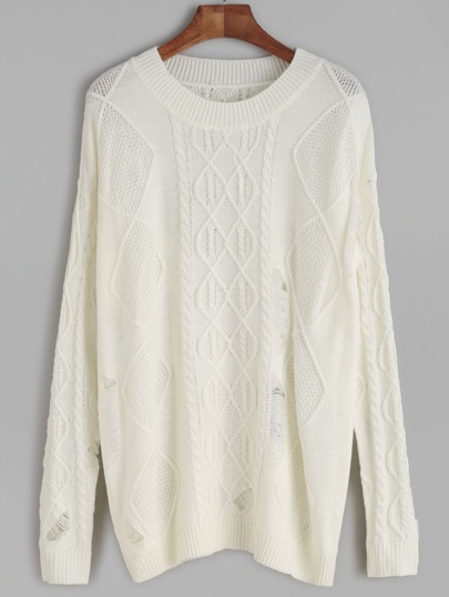 White Ribbed Cable Knit Sweater