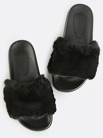 Open Toe Fur Slide Sandals BLACK