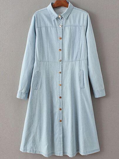 Light Blue Embroidery A Line Button Up Dress