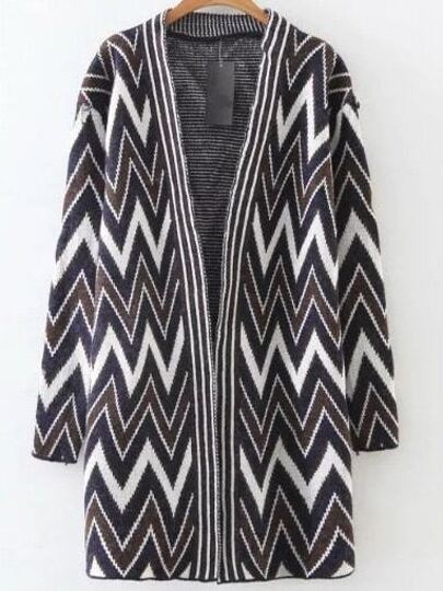 Navy Chevron Pattern Collarless Long Cardigan