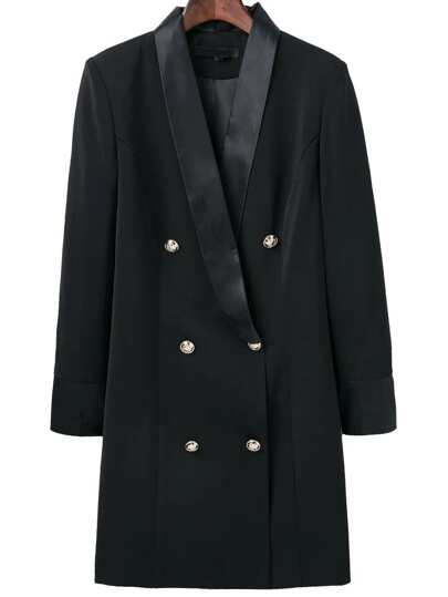 Black Shawl Collar Double Breasted Long Blazer