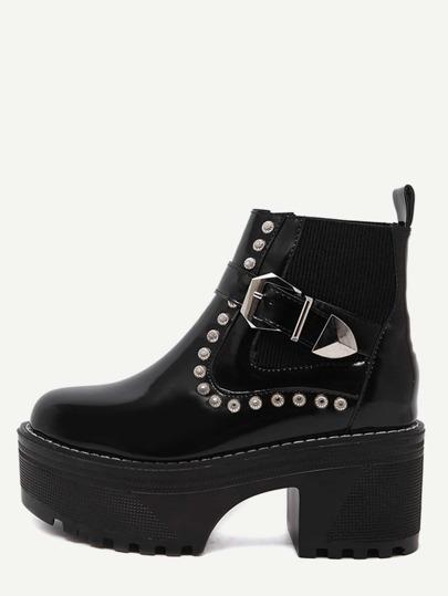 Black Patent Leather Buckle Strap Platform Booties