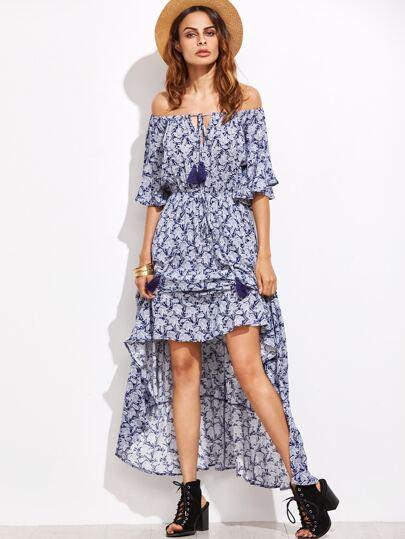 Kleid mit Quaste Detail Schulterfrei-blau