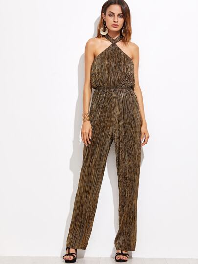 Gold Halter Sleeveless Elastic Waist Jumpsuit