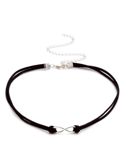 Black Double Strand Geometric Choker Necklace