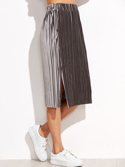 Grey Slit Side Pleated Velvet Skirt