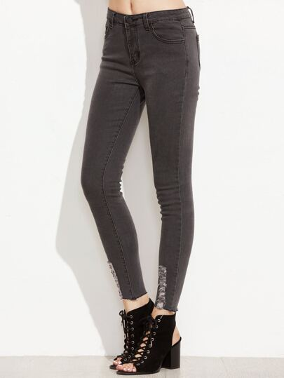 Black Ripped Raw Hem Ankle Jeans
