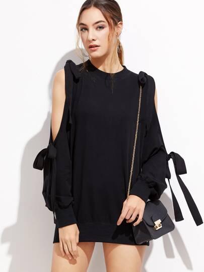 Black Open Shoulder Bow Tie Detail Sweatshirt