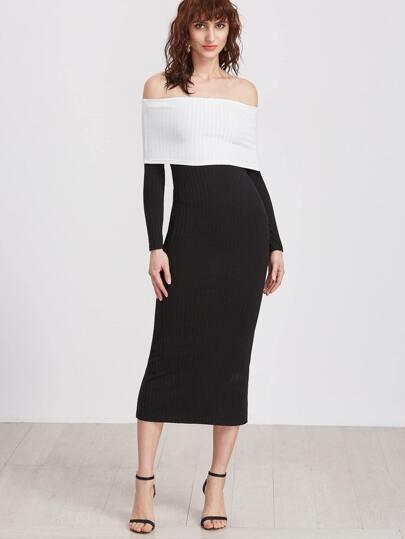 gerippte Kleid Schulterfrei Kontrast Falten-schwarz